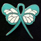 Gynecological Cancer Awareness Teal Ribbon Butterfly Ribbon Lapel Pin New
