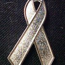 Sciatic Pain Awareness Silver Support Ribbon Pin New