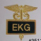 EKG Black Inlaid Insignia Emblem Pin Caduceus 3511B New