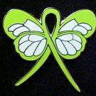 Lymphoma Awareness Lime Ribbon Butterfly Lapel Pin New