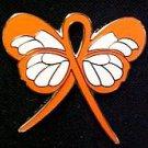 MS Multiple Sclerosis Lapel Pin Orange Ribbon Butterfly New