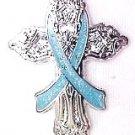 Prostate Cancer Awareness Light Blue Ribbon Religious Cross Church Lapel Pin New