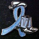 Gastric Cancer Periwinkle Glitter Ribbon Cowgirl Cowboy Western Boots Hat Pin