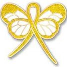 Liver Cancer Awareness Yellow Glitter Bling Ribbon Butterfly Lapel Pin Exclusive