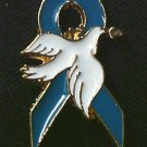 Teal Ribbon White Dove Hope Ovarian Cancer Pin Tac New
