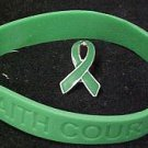 Green Ribbon Pin Silicone Bracelet Set Kidney Cancer March Awareness Month New