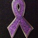 Purple Sparkle Bling Awareness Ribbon Epilepsy Pin New