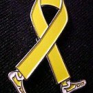Liver Cancer Awareness Month is September Yellow Ribbon Walking Legs Pin New