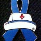 Huntington's Disease Awareness Month is May Nurse Cap Red Cross Blue Ribbon Pin