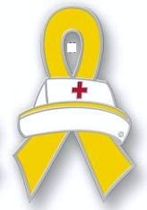 Ewings Sarcoma Awareness Month is July Nurse Cap Red Cross Yellow Ribbon Pin New