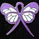 Hodgkin's Disease Lavender Support Ribbon Butterfly Pin