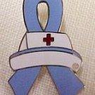 IBS Irritable Bowel Syndrome Awareness Nurse Cap Periwinkle Ribbon Lapel Pin New