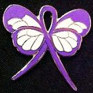 Cystic Fibrosis Lapel Pin Purple Ribbon Butterfly Awareness Month is May New