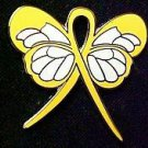 Liver Cancer Awareness Month September Yellow Ribbon Butterfly Pin Exclusive New