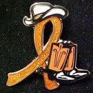 MS Multiple Sclerosis Orange Glitter Ribbon Cowgirl Cowboy Western Boots Hat Pin