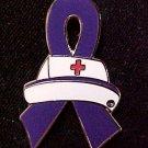 Hodgkin's Disease Awareness Nursing Nurse Cap Red Cross Purple Ribbon Pin New