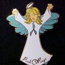 Ovarian Cancer Awareness Teal Ribbon Angel Blonde Pin