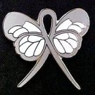 Diabetes Awareness Month November Gray Support Ribbon Butterfly Lapel Pin New