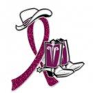 Headache Awareness Burgundy Glitter Ribbon Cowgirl Cowboy Western Boots Hat Pin
