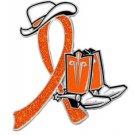 Tay-Sachs Orange Glitter Ribbon Cowgirl Cowboy Western Boots Hat Lapel Pin New