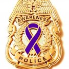 Police Badge Pin Purple Awareness Ribbon Security Officer Sheriff Cancer Cause G