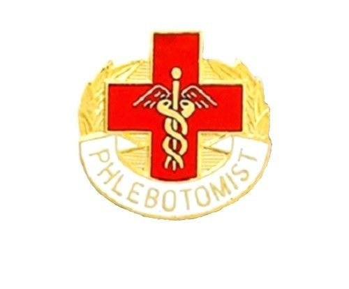 Phlebotomist Lapel Pin Cross Caduceus Insignia Blood Lab Technician 5001 New