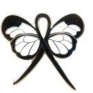 Black Ribbon Lapel Pin Awareness Butterfly Sleep Apnea Melanoma Cancer Cause New