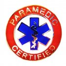Paramedic Certified Collar Pin Device Blue Star of Life Uniform 62S2 Silver Red