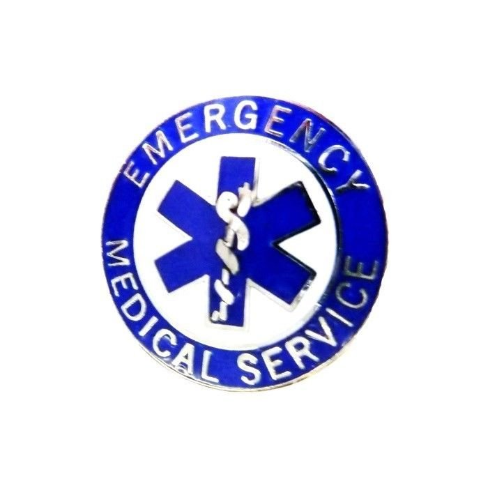 EMS Collar Pin Device Emergency Medical Service Blue Silver Star of Life 54S2