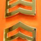 "Sergeant Chevron 1"" Collar Pin Set SGT Rank Insignia Police Military Gold P764"