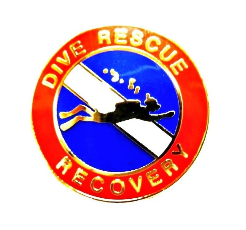 Dive Rescue Recovery Collar Pin Device Diving Team Lapel Gold Scuba Diver 67G2
