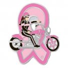 Pink Ribbon Lady Biker Pin Motorcycle Breast Cancer Awareness Bike Ride Cap Tac