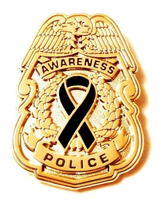 Police Badge Pin Black Awareness Ribbon Security Mourning Officer Cancer Cause G