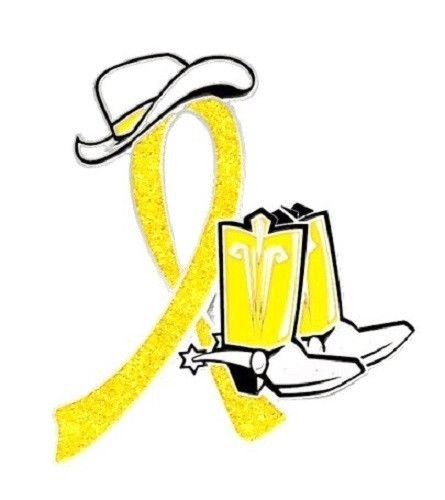Yellow Awareness Ribbon Pin Western Cowboy Boots Hat Spurs Cancer Cause New