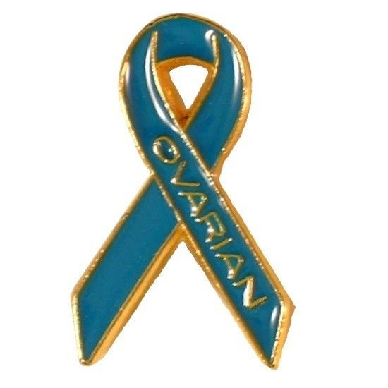 Ovarian Cancer Pin Teal Awareness Ribbon Gold Letters Cap Tac September New