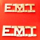 "EMT Collar Pin Set Nickel 1/2"" Cut Out Letters Emergency Medical Technician 2507"