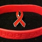 Red Ribbon Pin Silicone Bracelet Set Awareness Heart Lymphoma Pro Life AIDS DARE