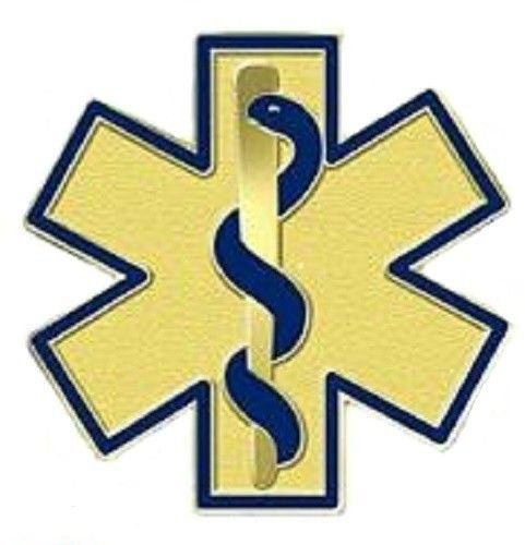 Blue Star of Life Lapel Pin EMT EMS Professional Gold Plated Medical 108 New