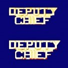 Deputy Chief Collar Pin Set Fire Dept Gold Cut Out Letters 2214 New