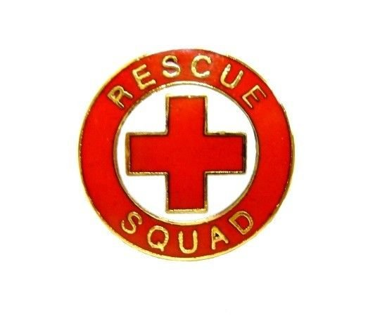 Rescue Squad Pin Collar Device Red Cross EMS Fire Departments EMT Gold 70G2 New