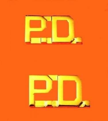 "P.D. Collar Pin Set Police Department 3/8"" Gold Metal Cut Out Letters 4324G"