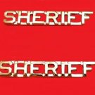 Sheriff Collar Pin Set Department Insignia Rank Nickel Cut Out Letters 2207 New