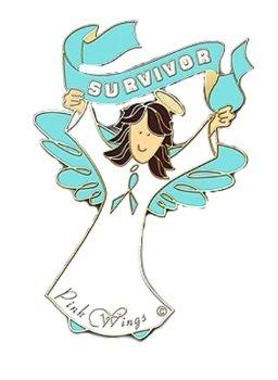 Teal Ribbon Awareness Pin Brown Hair Angel Survivor Ovarian Cancer PKD OCD New