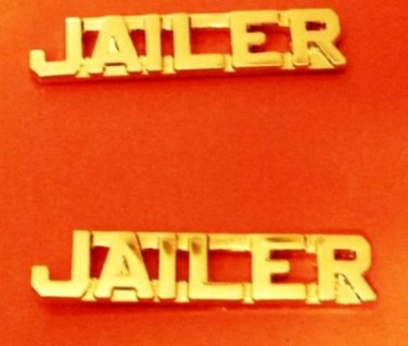 Jailer Collar Pin Set Sheriff Correction Officer Gold Cut Out Letters 2220 New