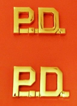 """P.D. Collar Pin Set Insignia Gold Cut Out 1/2"""" Letters 2514"""