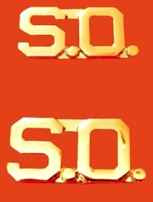 """S.O. Collar Pin Set Security Officer Insignia Gold 3/8"""" Cut Out Letter 2404 New"""