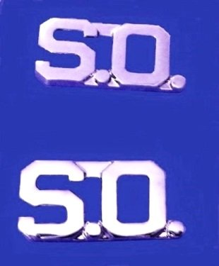 """S.O. Collar Pin Set Security Officer 1/2"""" Nickel Metal Cut Out Letters 2519"""