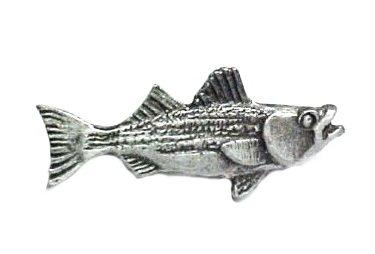 Pewter Bass Pin Striped Fish Fishing Lapel Cap Tac Rock Sport Fisherman New