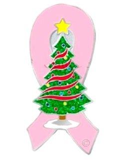 Pink Ribbon Lapel Pin Christmas Tree Breast Cancer Awareness Ornaments Holiday