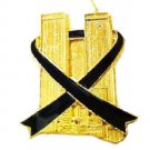 Twin Towers Black Ribbon Lapel Pin Remember 9-11-01 USA Awareness Gold Plate New